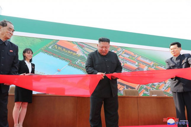 This image, released Saturday, by the North Korean Official News Service, shows North Korean leader Kim Jong Un during a ribbon-cutting ceremony for the opening of the Sunchon Phosphatic Fertilizer Factory. Photo by KCNA | License Photo