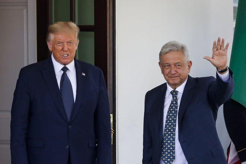 President Donald Trump (L) welcomes President Andres Manuel Lopez Obrador to the White Housein Washington, D.C., on Wednesday. Photo by Al Drago/UPI