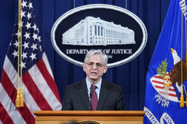 U.S. Attorney General Merrick Garland speaks Wednesday at the Department of Justice in Washington, D.C., and announces a federal investigation into the practices of the Minneapolis Police Department, following the conviction of former cop Derek Chauvin for George Floyd's death. Photo by Andrew Harnik/UPI/Pool