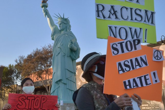 Residents march against anti-Asian violence and hate in El Monte, California, on April 3. File Photo by Jim Ruymen/UPI