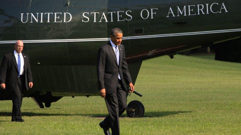 President Barack Obama returns to the White House in Washington D.C. from a trip to Jacksonville, Florida on July 25, 2013 . UPI/Dennis Brack/Pool