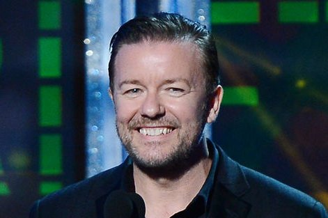 Actor Ricky Gervais appears onstage at the 64th Primetime Emmys at the Nokia Theatre in Los Angeles on September 23, 2012. UPI/Jim Ruymen