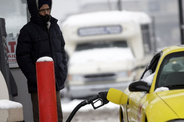 Retail gas prices remain at or near six-year lows, though volatility in the crude oil market and last weekend's snowstorm may pressure the price at the pump short-term. Photo by John Angelillo/UPI