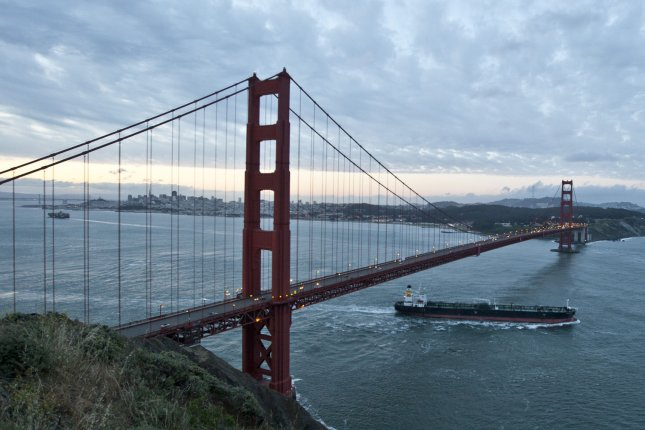 A man and woman were hit by blow darts while walking southbound on the east side of the Golden Gate Bridge. File Photo by Terry Schmitt/UPI