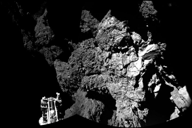 Scientists have reported on comet dust found by the Rosetta mission. The Philae lander of the European Space Agency's Rosetta mission is pictured on the surface of Comet 67P/Churyumov-Gerasimenko, as these first two images from the lander's CIVA camera confirm on November 12, 2014. After a 10-year journey, Philae is the first probe to achieve soft landing on a comet, and Rosetta is the first to rendezvous with a comet and follow it around the sun. Rosetta is a European Space Agency mission with contributions from its member states and NASA. Editorial Use Only UPI/ESA/Rosetta/CIVA