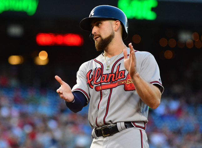 Ender Inciarte and the Atlanta Braves walloped the Colorado Rockies on Thursday. Photo by Kevin Dietsch/UPI