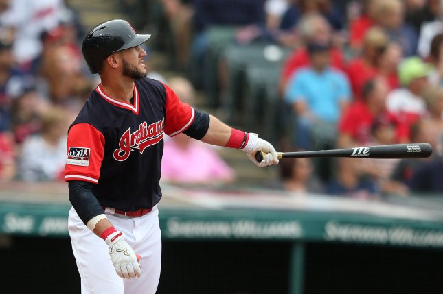 Cleveland Indians Yan Gomes hits a grand slam during the second inning of a game against the Kansas City Royals at Progressive Field in Cleveland, Ohio on August 27, 2017. Photo by Aaron Josefczyk/UPI