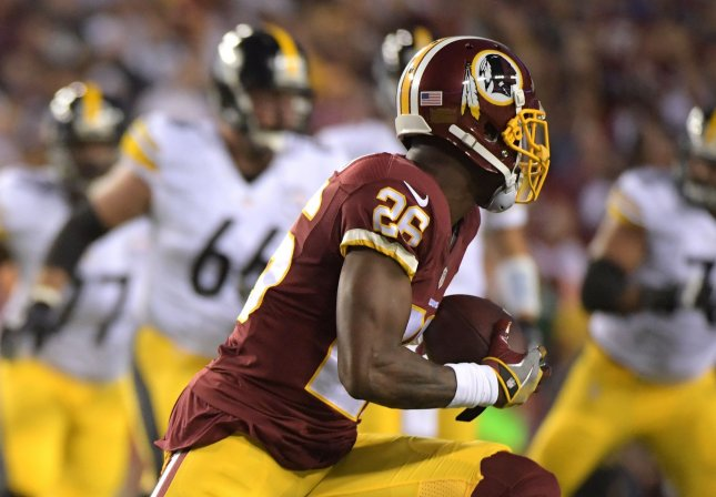 Former Washington Redskins cornerback Bashaud Breeland intercepts a pass during a game against the Pittsburgh Steelers during their game in 2016. Photo by Kevin Dietsch/UPI