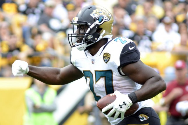 Jacksonville Jaguars running back Leonard Fournette (27) celebrates his two-yard touchdown against the Pittsburgh Steelers in the second quarter on October 8, 2017 at Heinz Field in Pittsburgh. Photo by Archie Carpenter/UPI