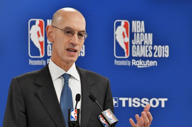 Under the proposal, which was submitted to the NBA's board of governors by league commissioner Adam Silver, the 2019-20 season is set to resume at the end of July. File Photo by Keizo Mori/UPI