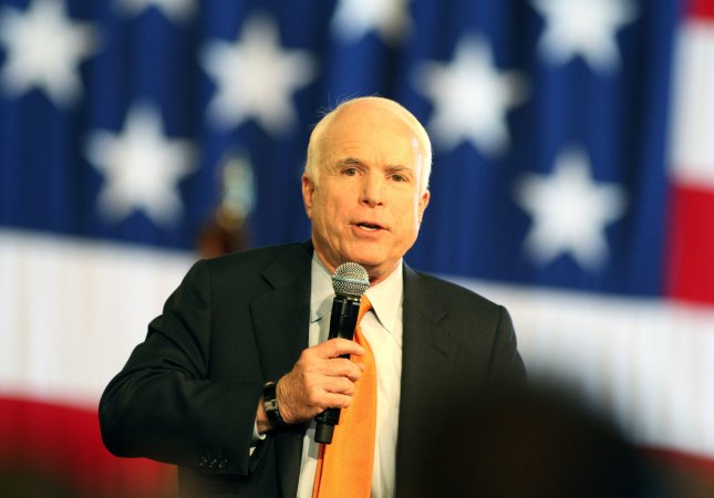 Republican presidential hopeful Senator John McCain speaks at a McCain for President rally in an airport hanger in Stockton, California on May 22, 2008. (UPI Photo/Terry Schmitt)