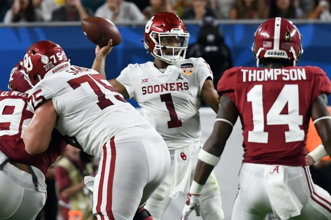 Oklahoma Sooners quarterback Kyler Murray (1) is widely expected to be the No. 1 pick in the 2019 NFL Draft. File Photo by Gary I Rothstein/UPI