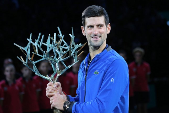 Serbian Novak Djokovic now has five Paris Masters titles after winning the singles final Sunday in Paris. Photo by David Silpa/UPI
