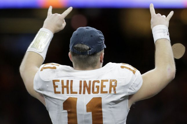 Texas Longhorns quarterback Sam Ehlinger was responsible for four touchdowns in a win against Utah at the 2019 Alamo Bowl Tuesday in San Antonio. File Photo by AJ Sisco/UPI