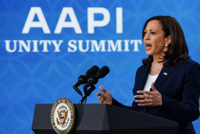 Vice President Kamala Harris delivered the keynote address for the Asian Americans and Pacific Islanders Victory Alliance unity summit Wednesday, condemning anti-Asian hate crimes and voter restriction laws. Photo by Jemal Countess/UPI