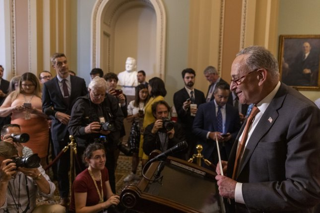 Senate Majority Leader Charles Schumer, D-N.Y., arrives to speak at a press conference by Democratic leadership at the U.S. Capitol on June 22. Schumer warned Senate Democrats they may have to work through their August recess. Photo by Tasos Katopodis/UPI