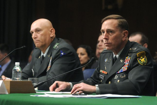 Gen. David Petraeus (R), nominee for reapportionment to be commander of United States Central Command, and Lt. Gen. Raymond Odierno, nominee to be commander of the Multi-National Force-Iraq, testify during their confirmation hearing before a Senate Judiciary Committee hearing on Capitol Hill in Washington on May 22, 2008. (UPI Photo/Kevin Dietsch)