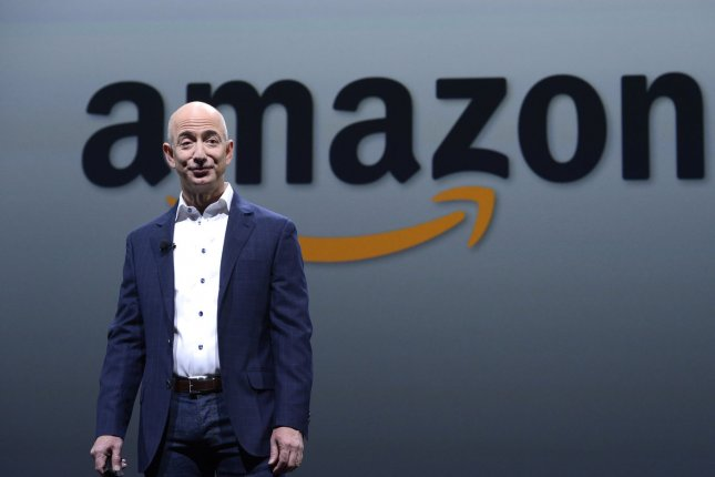 Amazon CEO Jeff Bezos speaks at a news conference held at the Barker Hangar in Santa Monica, California on September 6, 2012. As of July 2015, Amazon has surpassed Walmart to become the most valuable retailer in the world. File photo by Phil McCarten/UPI