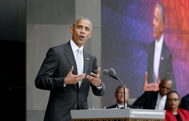 President Barack Obama speaks at the opening ceremony of the Smithsonian National Museum of African American History and Culture on Saturday in Washington, D.C. Pool Photo by Olivier Douliery/UPI