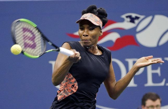 Venus Williams returns a shot during the U.S. Open in New York last month. Photo by Ray Stubblebine/UPI