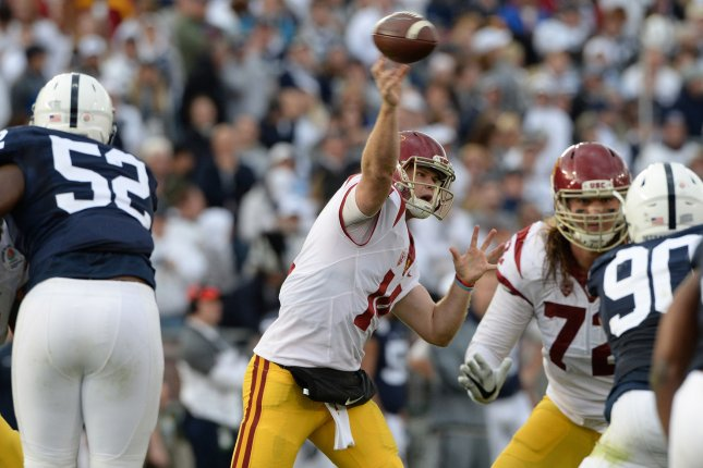 USC Trojans quarterback Sam Darnold completes a four-yard pass to receiver Deontay Burnett against Penn State during the 2017 Rose Bowl. File Photo by Jon SooHoo/UPI