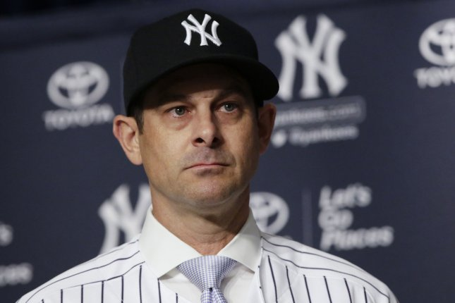 Aaron Boone speaks at a press conference after the New York Yankees Introduce their new manager on December 6 at Yankee Stadium in New York City on December 6, 2017. Photo by John Angelillo/UPI