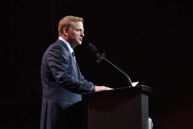 NFL commissioner Roger Goodell announces a draft pick at the 2017 NFL Draft on April 27, 2017 at the NFL Draft Theater in Philadelphia. Photo by Derik Hamilton/UPI