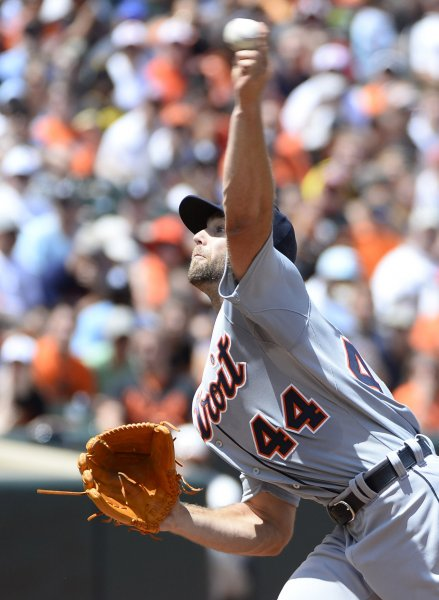Detroit Tigers starting pitcher Daniel Norris delivers to the Baltimore Orioles during the first inning at Camden Yards in Baltimore, August 2, 2015. Photo by David Tulis/UPI