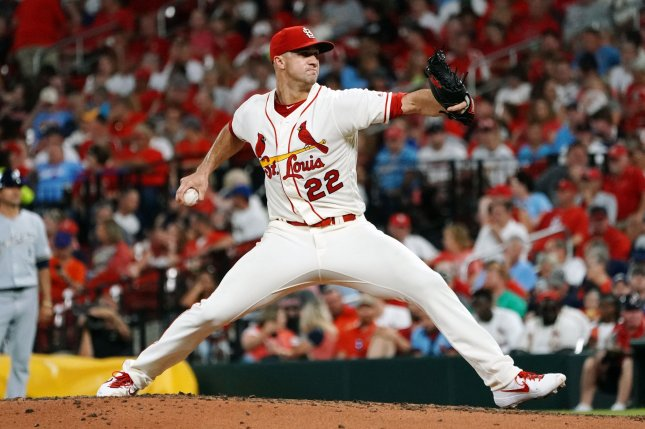 St. Louis Cardinals starting pitcher Jack Flaherty posted an 11-8 record and 2.75 ERA in 33 starts last season. File Photo by Bill Greenblatt/UPI