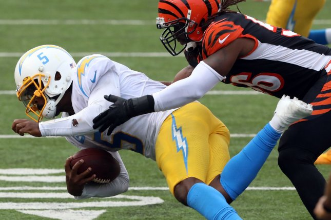 Los Angeles Chargers quarterback Tyrod Taylor (5) missed Sunday's game and is expected to miss his Week 3 start due to a chest injury. File Photo by John Sommers II/UPI