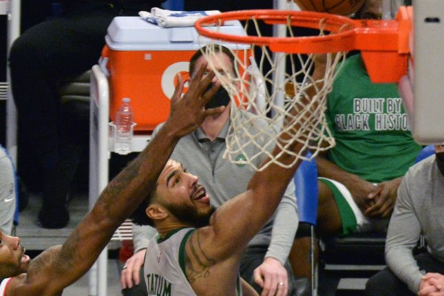 Boston Celtics forward Jayson Tatum made 17 of 17 free-throw attempts en route to 50 points in a win over the Washington Wizards on Tuesday in Boston. File Photo by Jim Ruymen/UPI