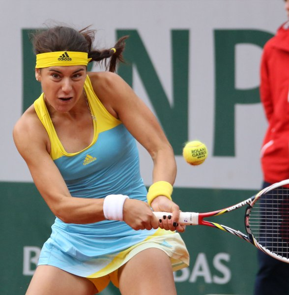 Sorana Cirstea, shown at the 2013 French Open, had a straight-set win Wednesday an earned her a berth in the quarterfinals of the PTT Pattaya Open. UPI/David Silpa