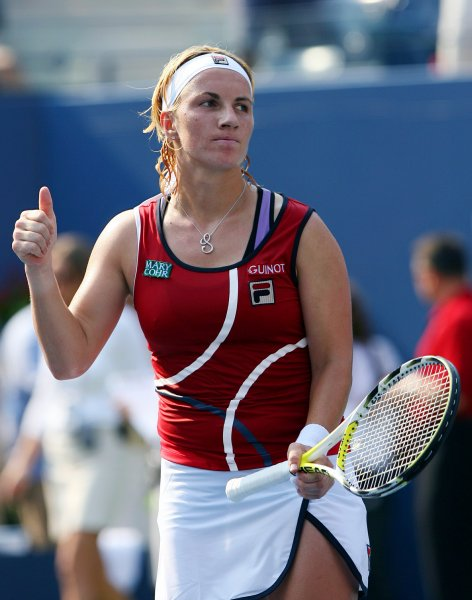 Svetlana Kuznetsova gives a thumbs up after her semi final match against Anna Chakvetadze on day 12 at the U.S. Open in New York City on September 7, 2007. Svetlana Kuznetsov defeated Anna Chakvetadz 3-6, 6-1, 6-1 to advance to her first ever U.S. Open final. (UPI Photo/John Angelillo) .
