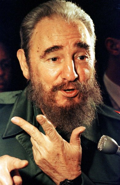 Former Cuban President Fidel Castro, shown here in 1995, gave a rare speech before his country's Communist Party congress that was both somber and defiant, and could be his farewell speech. File Photo by H. Ruckemann/UPI