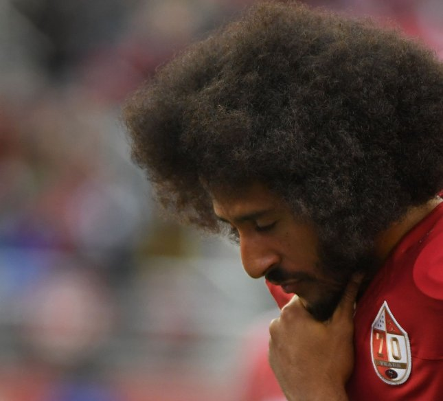 Former San Francisco 49ers quarterback Colin Kaepernick is still without a home in the NFL but has drawn interest from the Seattle Seahawks. Photo by Terry Schmitt/UPI