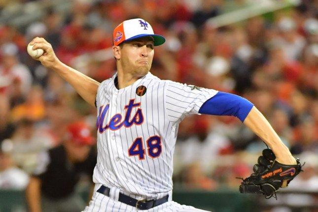 Jacob deGrom and the New York Mets take on the Washington Nationals on Friday. Photo by Kevin Dietsch/UPI