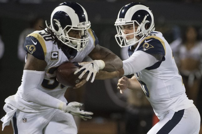 Los Angeles Rams QB Jared Goff (R) hands off to Todd Gurley II. Photo by Terry Schmitt/UPI
