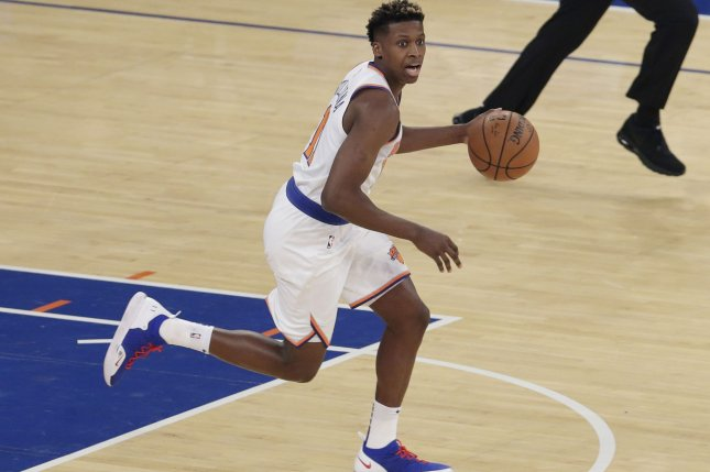 New York Knicks guard Frank Ntilikina brings the ball up court in the first half against the Atlanta Hawks on October 17 at Madison Square Garden in New York City. Photo by John Angelillo/UPI