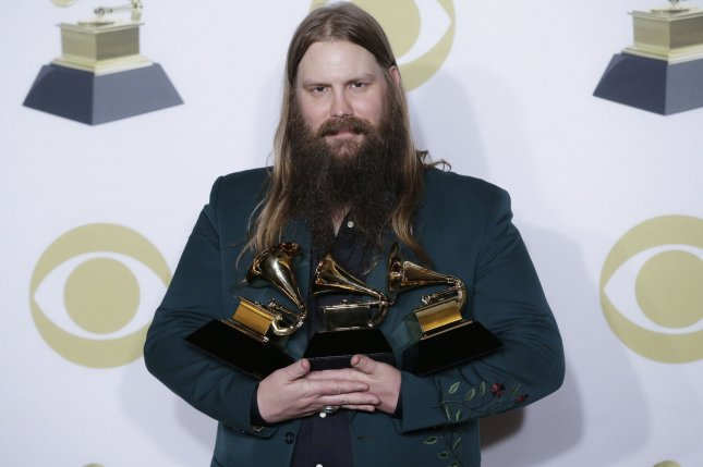 Chris Stapleton arrives in the press room with his Grammy awards at the 60th Annual Grammy Awards ceremony at Madison Square Garden in New York City on January 28, 2018. File Photo by John Angelillo/UPI