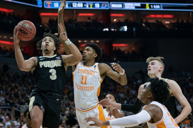 Purdue's Carsen Edwards (3) helped his squad knock off Tennessee on Thursday in the NCAA tournament, ruining Gregg Nigl's perfect bracket. Photo by Bryan Woolston/UPI