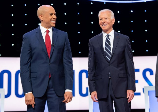 Democratic presidential candidates Cory Booker (L) and Joe Biden are among eight candidates who have qualified so far for the third debate in September. Photo by Kevin Dietsch/UPI