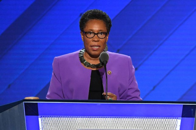 Rep. Marcia Fudge, D-Ohio, is shown speaking at the 2016 Democratic National Convention in Philadelphia. She was confirmed Wednesday as HUD secretary. File Photo by Pat Benic/UPI
