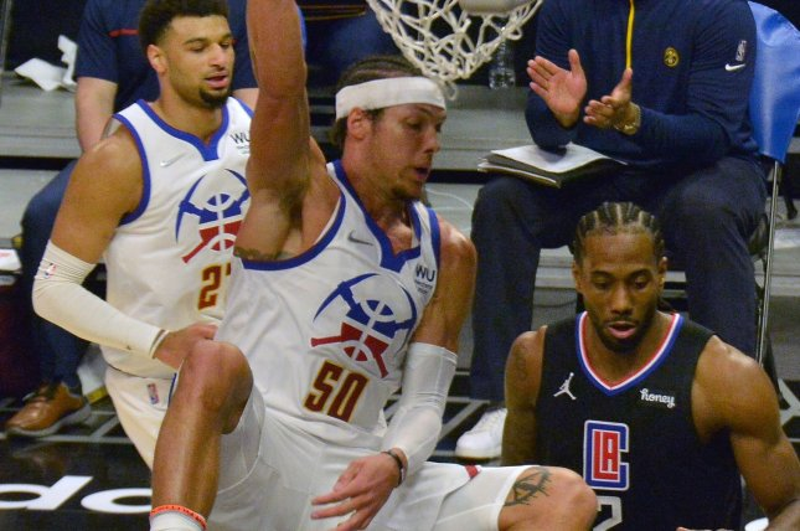 Denver Nuggets forward Aaron Gordon (C), shown April 1, 2021, averaged 12.4 points and 5.7 rebounds last season. File Photo by Jim Ruymen/UPI