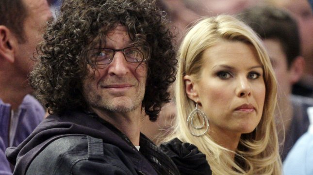 Howard Stern and Beth Ostrosky watch the New York Knicks play the Miami Heat at Madison Square Garden in New York City on January 27 2011. UPI/John Angelillo
