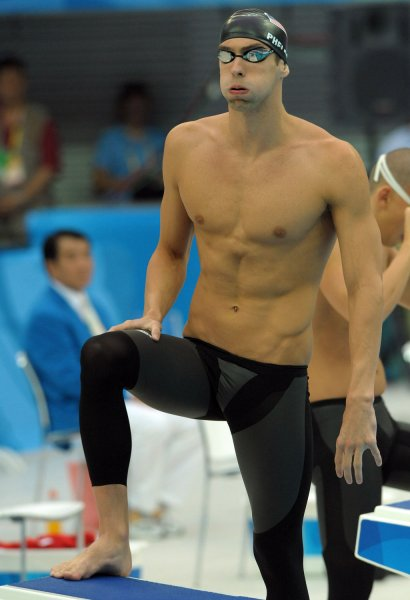 USA's Michael Phelps prepares to compete in the Men's 200M Individual  Medley semifinals at the National Aquatic Center (Water Cube) during the  2008 Summer ...