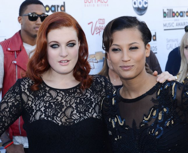 Caroline Hjelt (L) and Aino Jawo of Icona Pop arrive at the 2013 Billboard Music Awards held at the MGM Hotel in Las Vegas, Nevada on May 19, 2013. UPI/Jim Ruymen