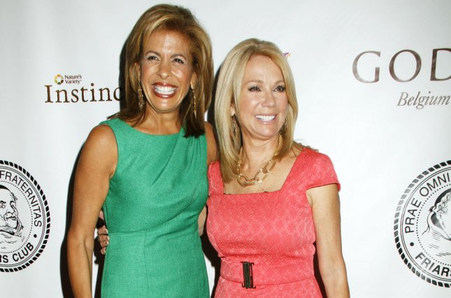 Kathie Lee Gifford (L), pictured with Hoda Kotb, spent a special evening with her Today co-hosts ahead of her exit from the show. File Photo by Laura Cavanaugh/UPI