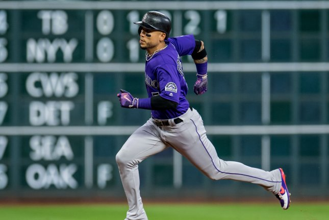 Cleveland Indians outfielder Carlos Gonzalez has been designated for assignment after hitting just .210 with two home runs, seven RBI and a .558 OPS for the Indians in 30 games. File Photo by Trask Smith/UPI
