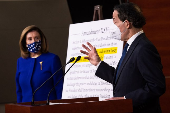 Rep. Jamie Raskin, D-Md, and Speaker of the House Nancy Pelosi, D-Calif., hold a press conference on a proposed bill to alter the 25th Amendment, at the U.S. Capitol in Washington, D.C. on Friday. Photo by Kevin Dietsch/UPI