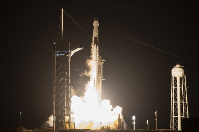 A SpaceX Falcon 9 rocket launches the first operational Crew Dragon spacecraft to the International Space Station from Complex 39A at Kennedy Space Center on Sunday. On board are astronauts Michael Hopkins, Victor Glover, Shannon Walker and Soichi Noguchi. Photo by Joe Marino/UPI